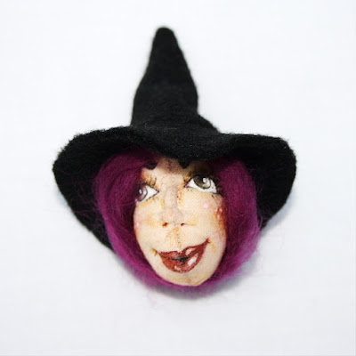 Witch art doll brooch