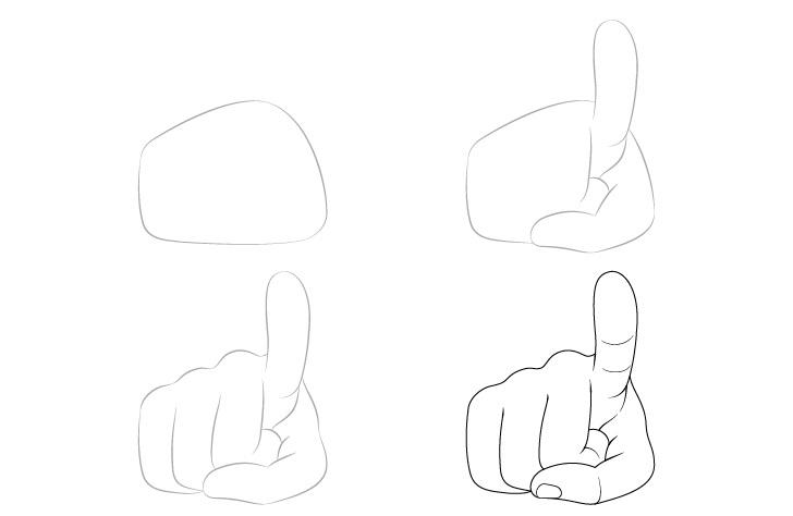 Jari menunjuk gambar tangan selangkah demi selangkah
