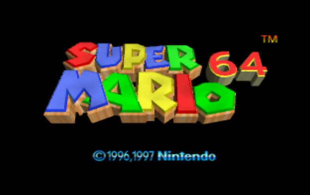 Super Mario 64 Title screen logo pal europe