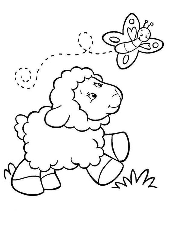 Hình tô màu con cừu và con bướm