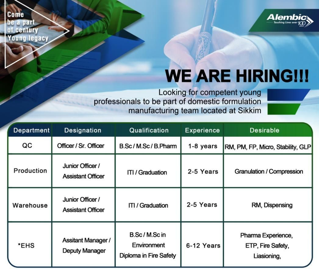 Alembic Pharmaceuticals Limited Job Vacancy For ITI / Graduation Candidates  For Sikkim Location