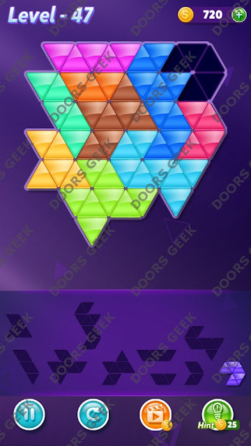 Block! Triangle Puzzle Master Level 47 Solution, Cheats, Walkthrough for Android, iPhone, iPad and iPod