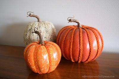 yarn embellished pumpkins