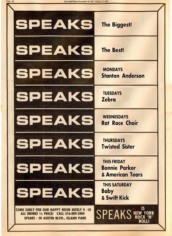 Speaks band schedule