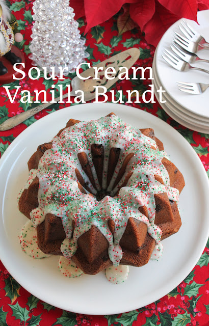 Food Lust People Love: Sour cream, instant pudding and white chocolate chips make this sour cream vanilla Bundt so rich and decadent that everyone will want more than one slice. Top it all off with vanilla glaze and festive sprinkles!
