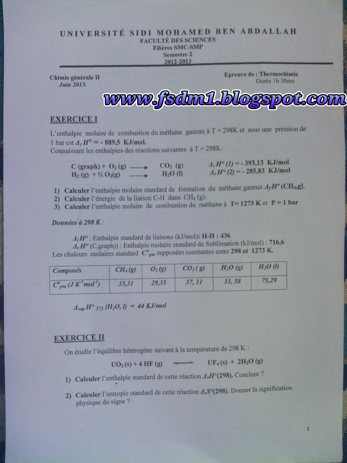 Examen De Thermochimie S2 Pdf