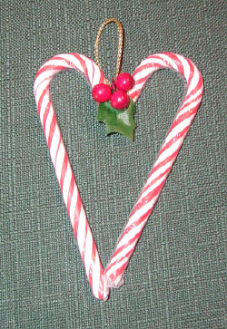 Candy cane heart ornaments