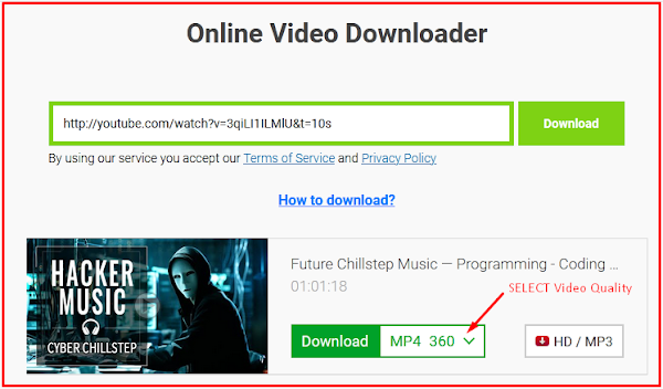 select video quality than download