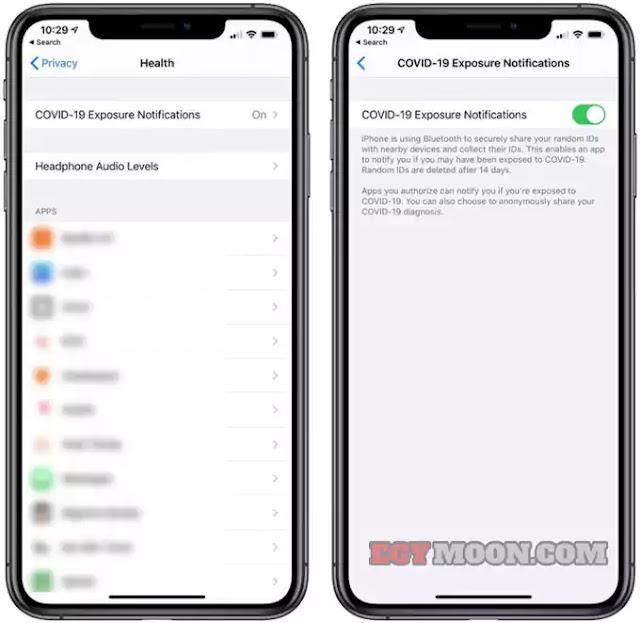 طريقة تمكين / تعطيل إشعار التعرض لـ COVID-19 على اجهزة الايفون iPhone