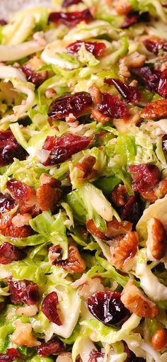 Shredded Brussels sprouts, dried cranberries and delicious pecans! #salad #fall #thanksgiving #holiday #christmas #healthy