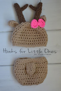 Crochet Deer hat and diaper cover by Hooksforlittleones