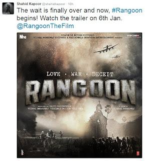 Shahid Kapoor, Twitter, Rangoon Poster