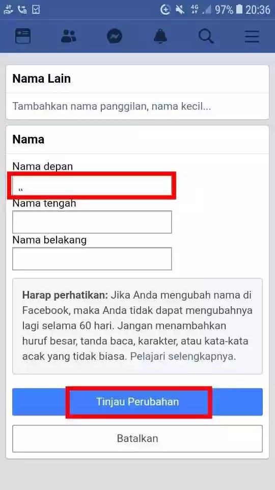 Cara Membuat Akun Facebook Tanpa Nama (Kosong) di Android