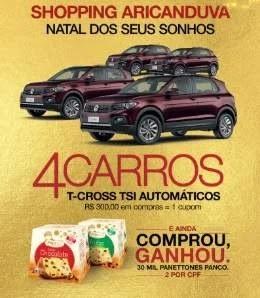 Promoção Natal 2019 Aricanduva Shopping Ganhe Panetone Concorra 4 Carros 0KM T-Cross