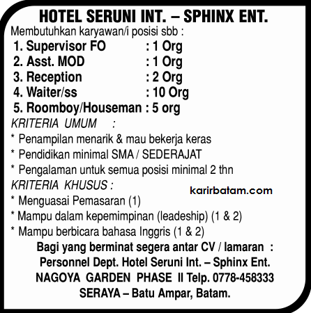 Lowongan Kerja Hotel Seruni