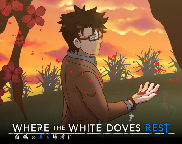 """Man wearing eyeglasses and a brown coat under a tree catching petals of red flowers falling from a tree with title """"where the white doves rest""""."""