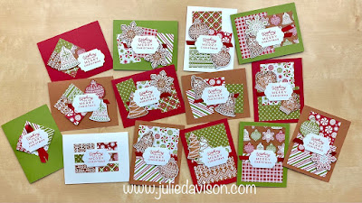 Stampin' Up! Gingerbread & Peppermint Stamp a Stack Card Class ~ www.juliedavison.com #stampinup #christmas