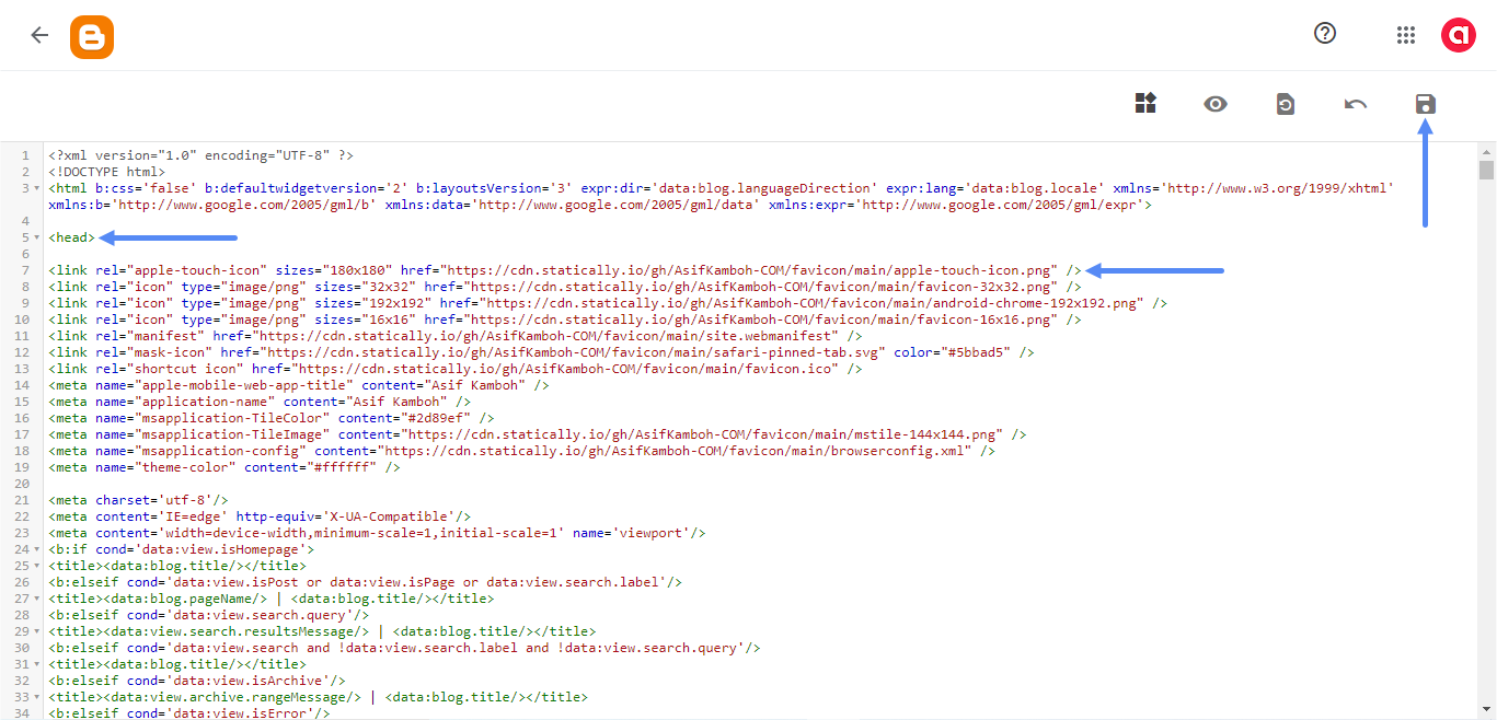 Insert the HTML5 code at the bottom of the head, add a slash before the greater-than sign, and click the Save icon.
