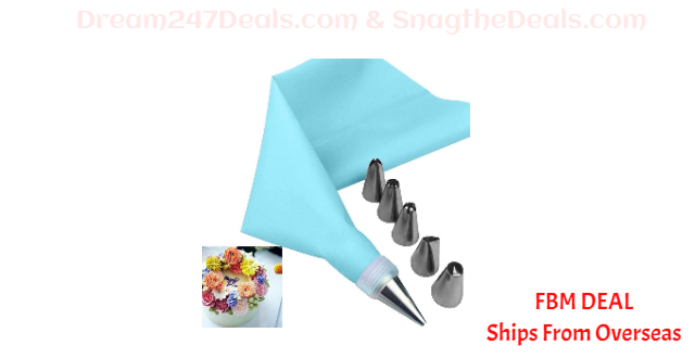80%  off 8 PCS/Set Silicone Icing Piping Cream Pastry Bag + 6 Stainless Steel Nozzle Set
