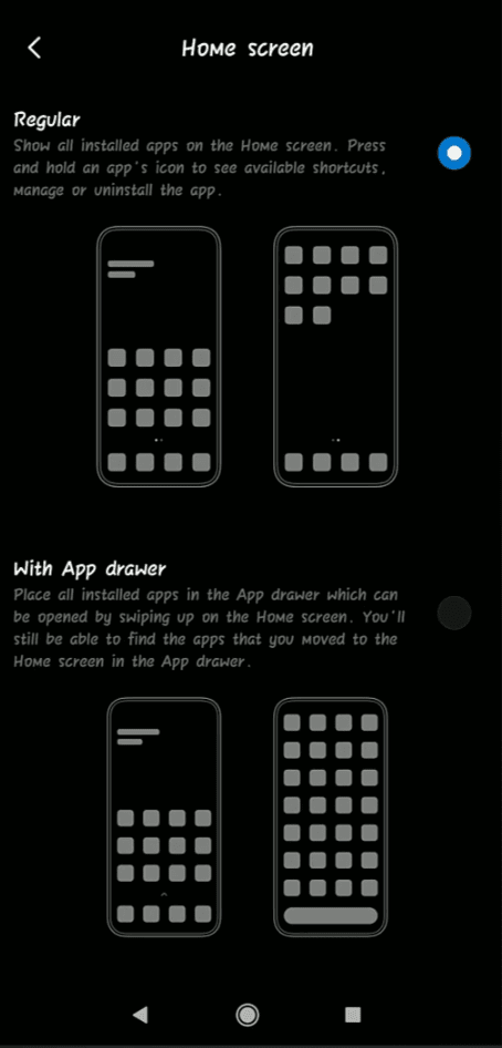 How To Enable App Drawer - MIUI 11 System Launcher - All Xiaomi Devices - Home Screen Settings Regular & App Drawer - Cursed Brains