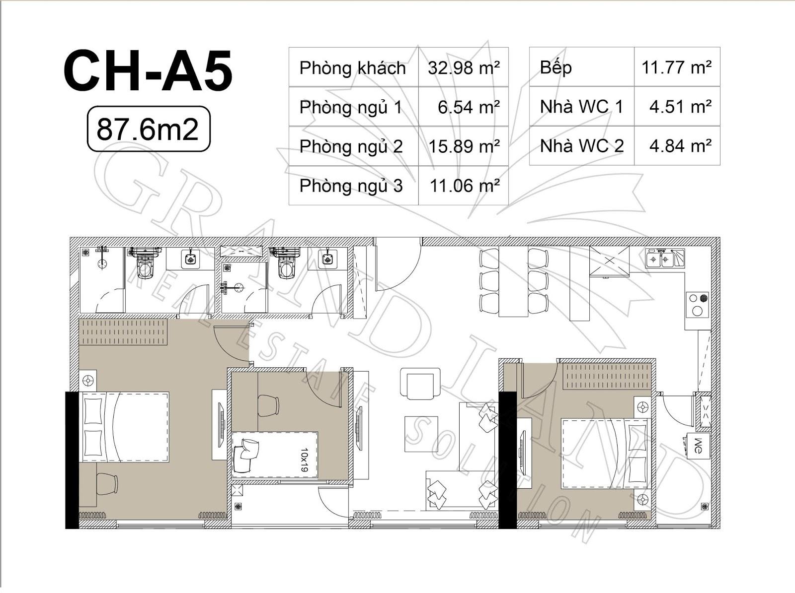 Thiết kế căn hộ 3PN 87m2 tại chung cư DLC Complex