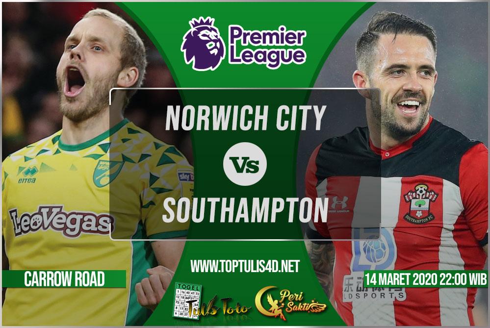 Prediksi Norwich City vs Southampton 14 Maret 2020