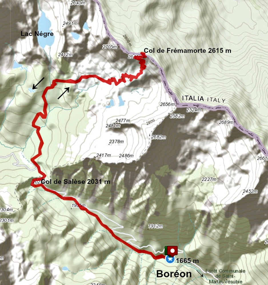 Col de Fremamorte hike track