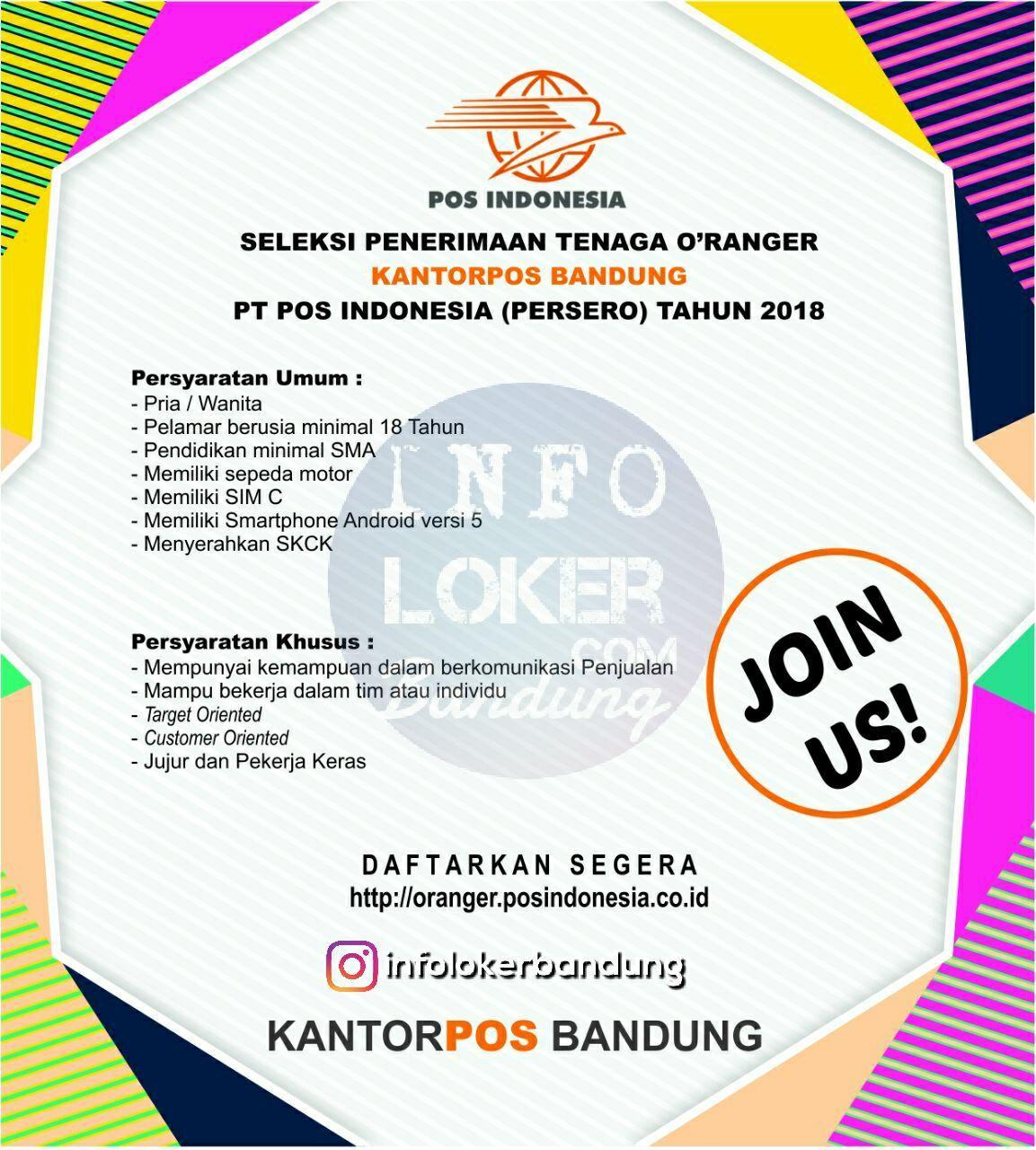 Lowogan Kerja PT. Pos Indonesia ( Persero ) Bandung Maret 2018