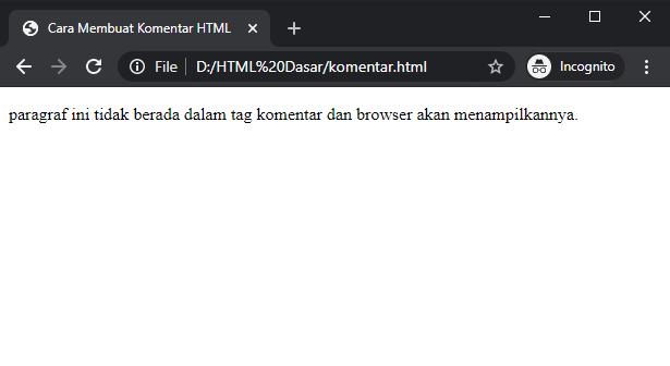 cara membuat baris komentar html
