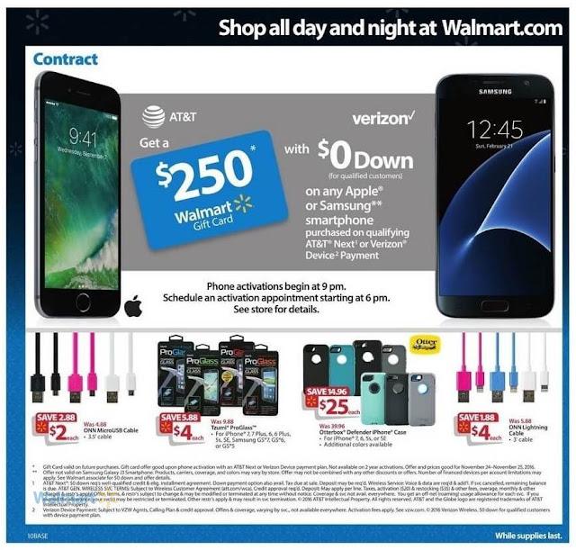 Black Friday Walmart 2016 Ads Samsung & Apple iphone Case, Tzumi Proglass, ONN USB Cable