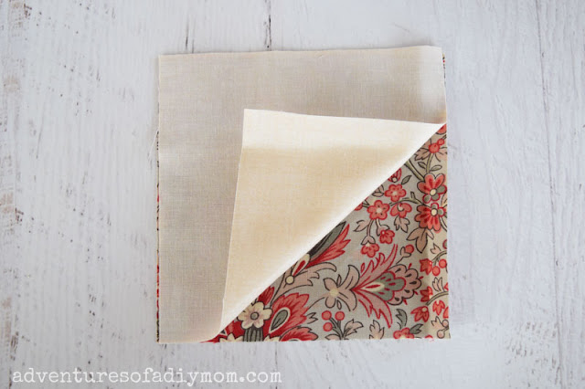 fabric squares with right sides together