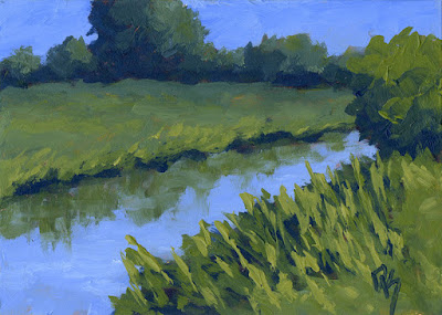 painting art impressionist canal irrigation rural green