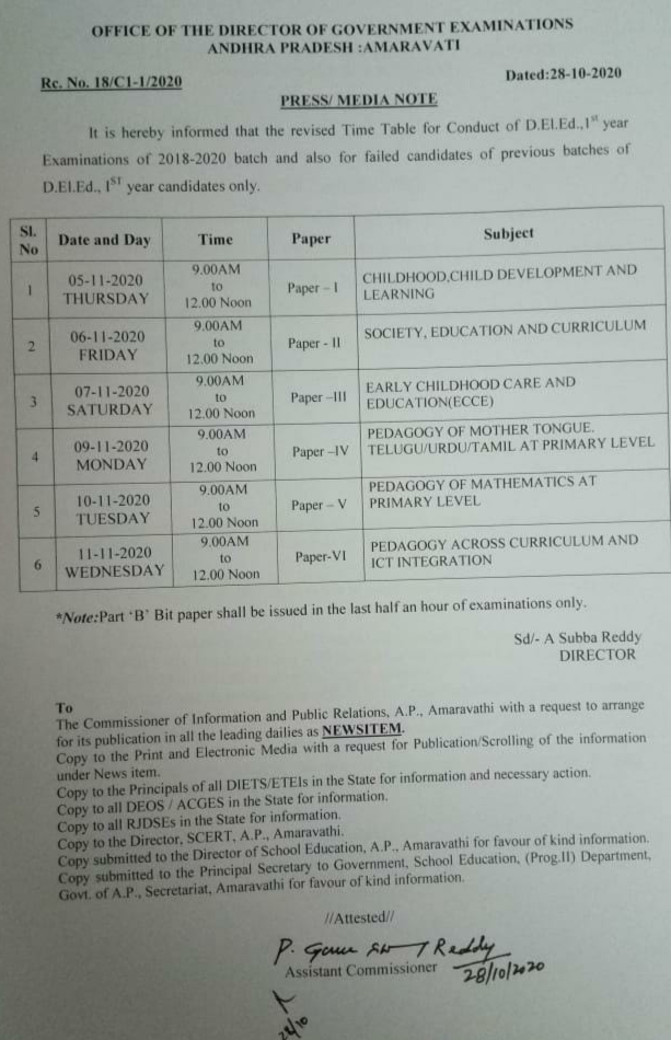 Revised Time Table for Conduct of D.EL.Ed 1st year Examinations of 2018-2020 batch.