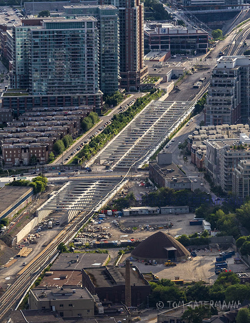 A view, from the CN Tower, of the road-over-rail grade separationproject at Strachan Street in Toronto, Ontario.