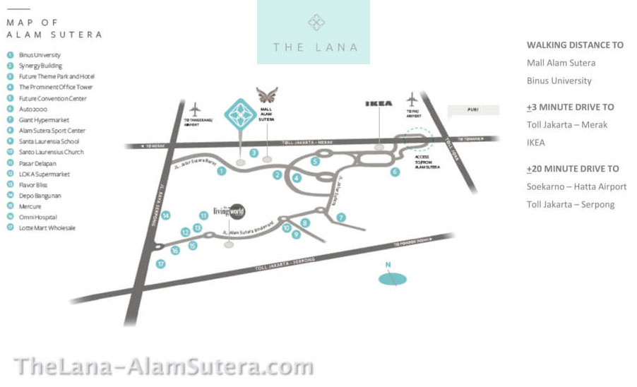 Peta Lokasi Apartemen The LANA Alam Sutera