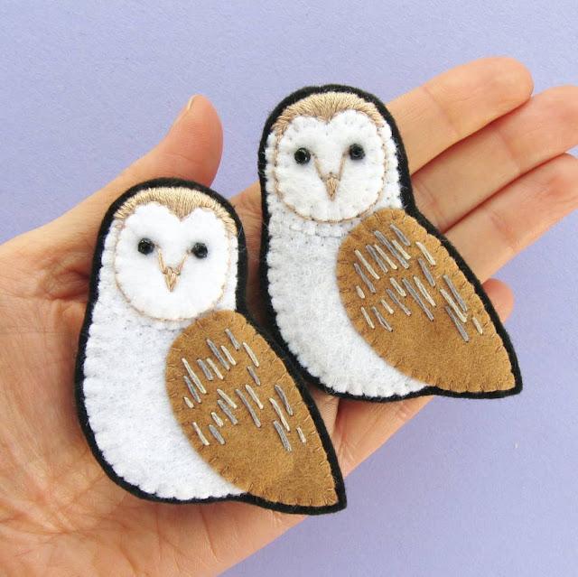 Sew a felt barn owl brooch!