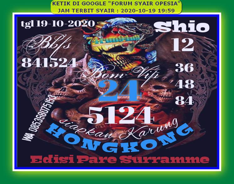 Kode syair Hongkong senin 19 oktober 2020 56