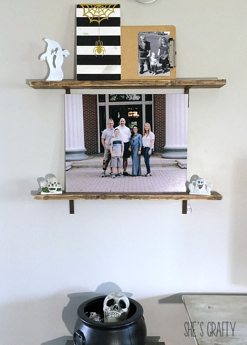 picture ledge shelves, halloween candle holders, how to add Halloween Charm to your every day home decor
