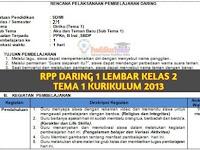 Download RPP Daring 1 Lembar SD/MI Kelas 2 Tema 1 Semester 1