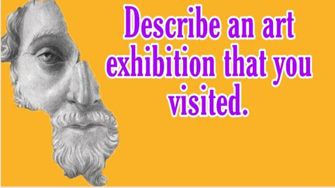 Describe an art exhibition that you visited cue card