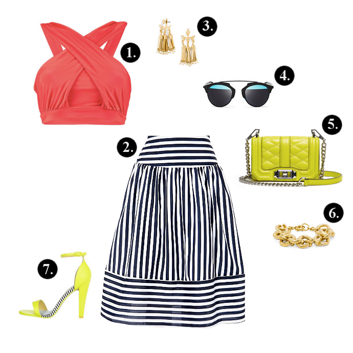 Midi Skirt outfits, Midi Skirt outfit ideas, Boohoo Top, Walktrendy Skirt, BaubleBar Earrings, Dior Sunglasses, BaubleBar Bracelet, Rebecca Minkoff Bag, Miss KG Sandals