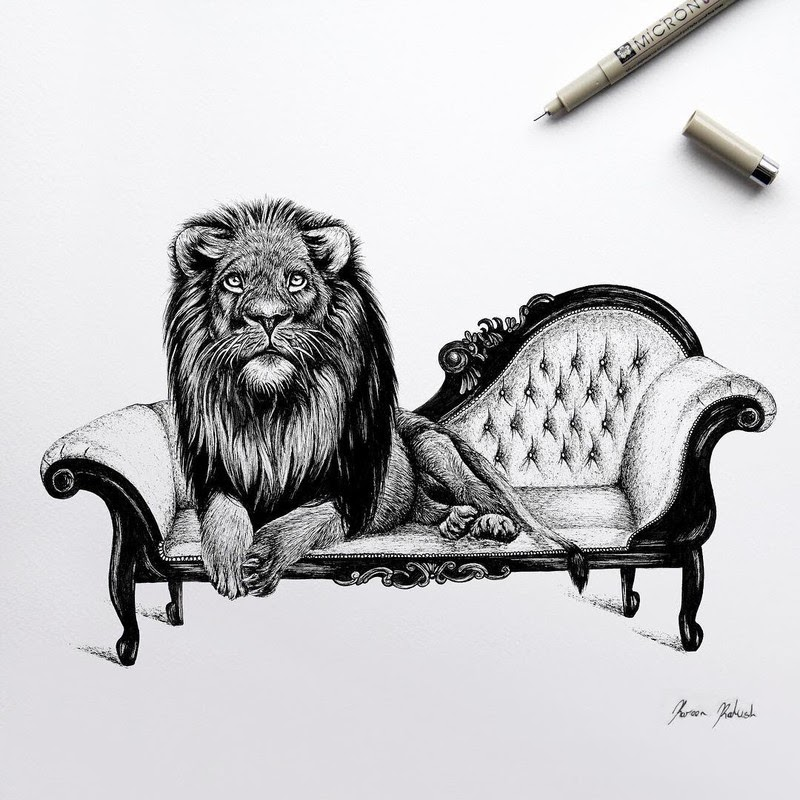 01-Tiger-on-a-Couch-Surreal-Animals-Mostly-Ink-Drawings-www-designstack-co