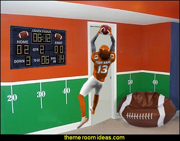 football player wall decal football bedroom furniture sports bedroom decorating ideas