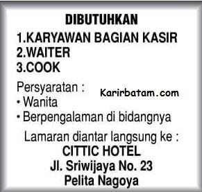 Lowongan Kerja Hotel Cittic Batam Indonesia