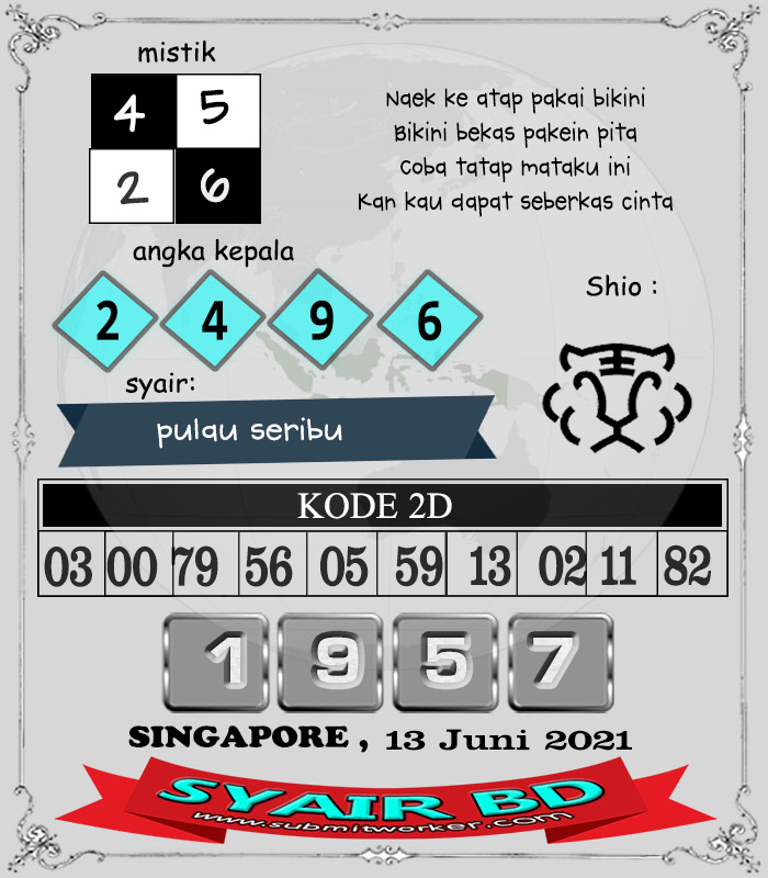 Syair BD Singapore Minggu 13 Juni 2021