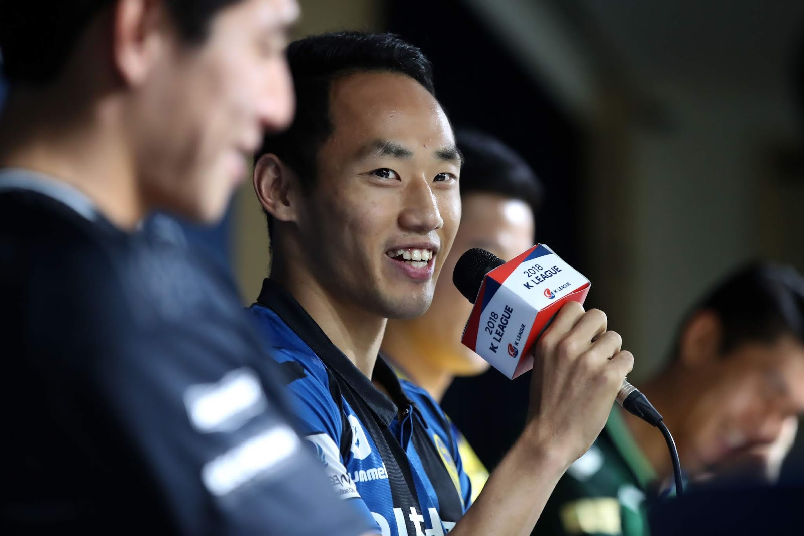 Incheon United winger Moon Seon-min being interviewed this week as one of the K League's representatives at the World Cup. (Image: K League)