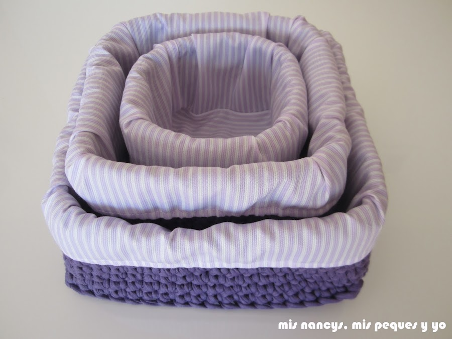 mis nancys, mis peques y yo, tutorial DIY funda cestas, juego de tres cestas de trapillo con su funda