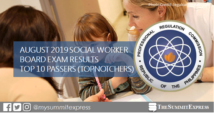 RESULT: August 2019 Social Worker board exam top 10 passers
