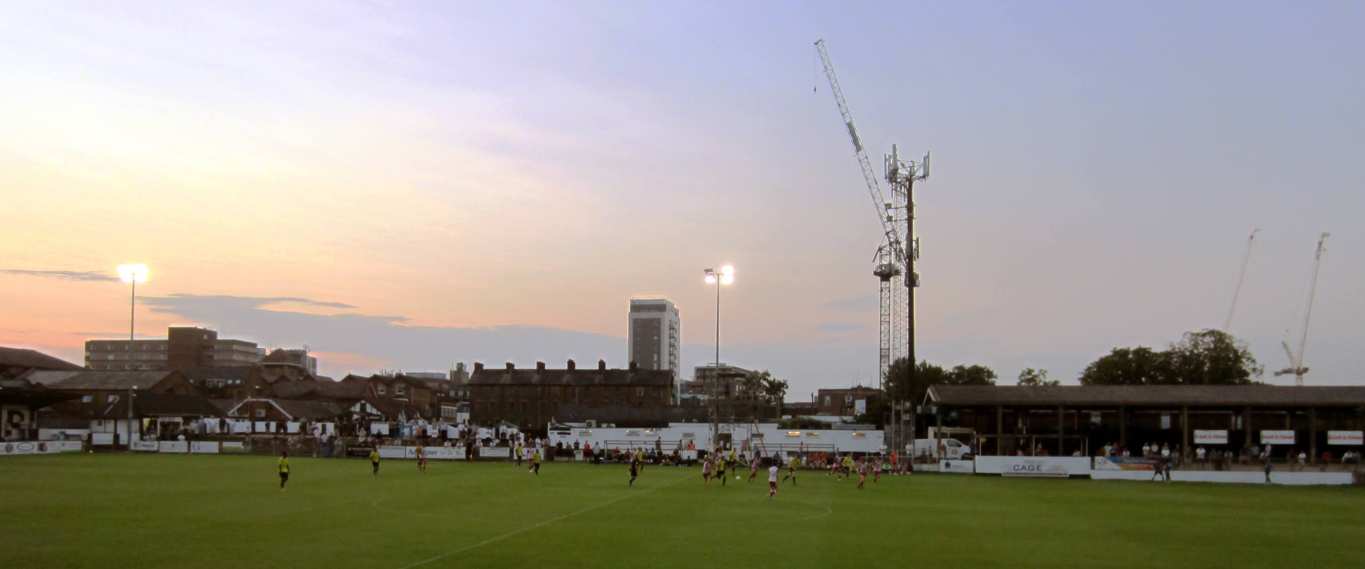 A view towards the Maidenhead town centre from the main stand at York Road
