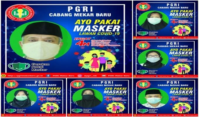 Cegah Penyebaran Covid-19, PGRI Mekar Baru Gencar Kampanyekan Pakai Masker